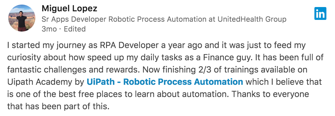UiPath Academy, One Year Anniversary for the World's First RPA