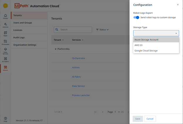 uipath-automation-cloud-export-logs