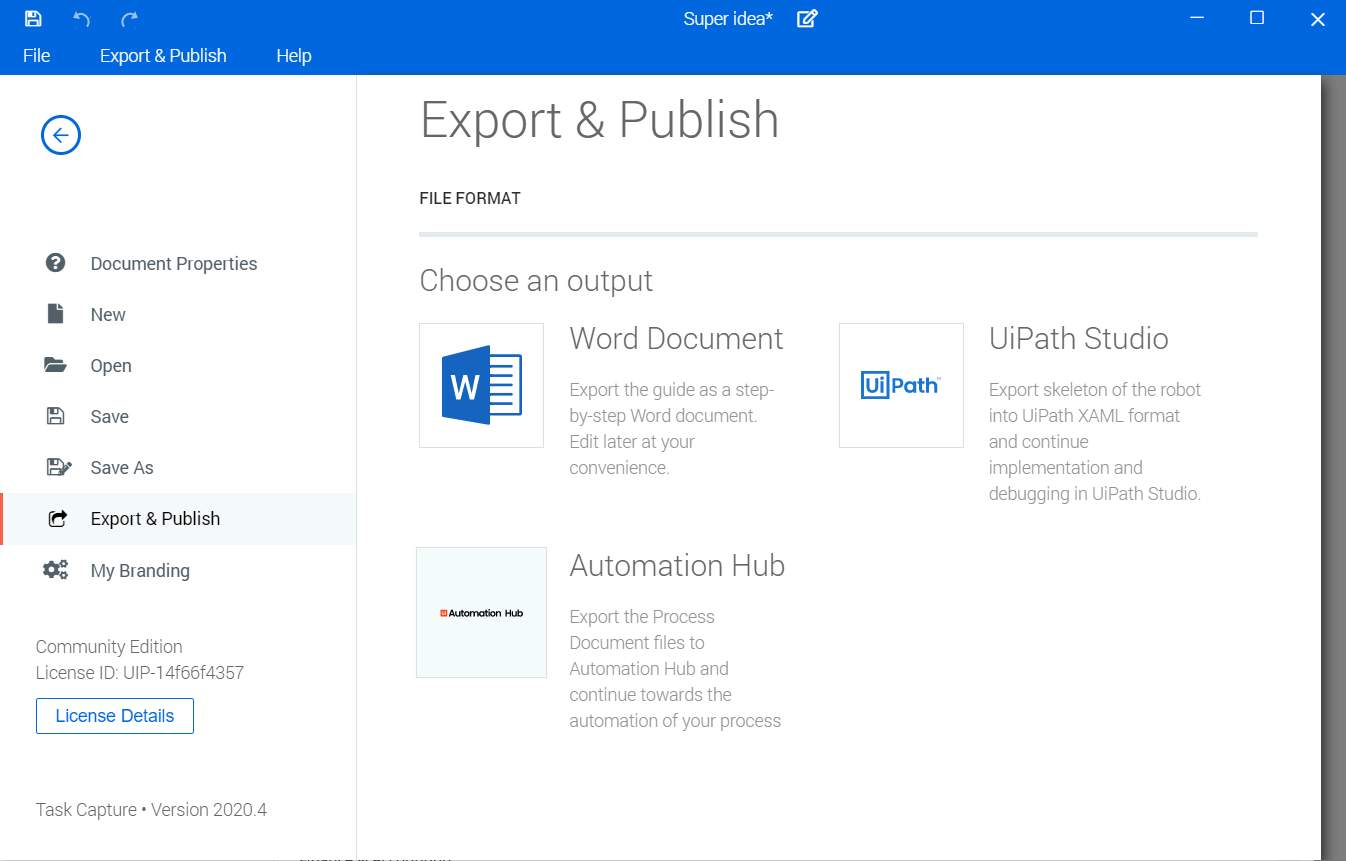 uipath-task-capture-publish
