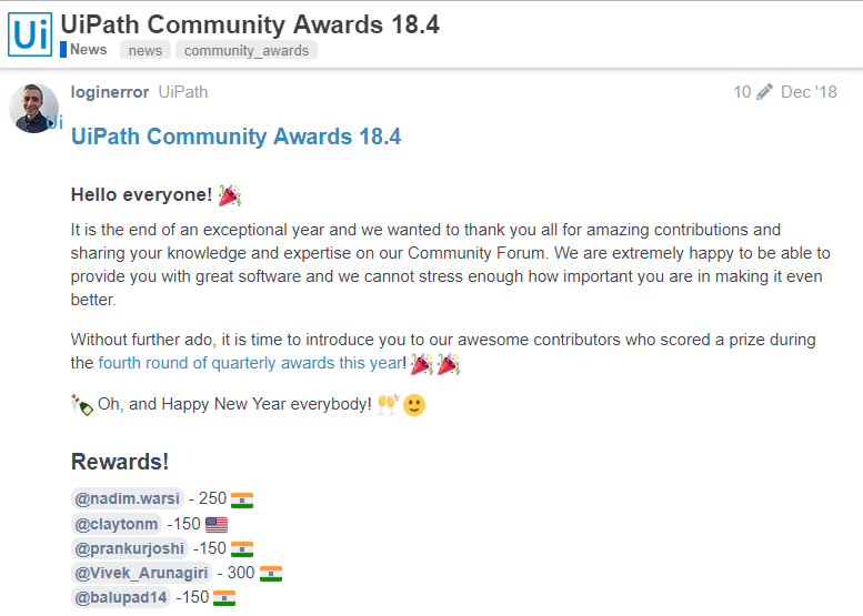 Community Awards 18.4