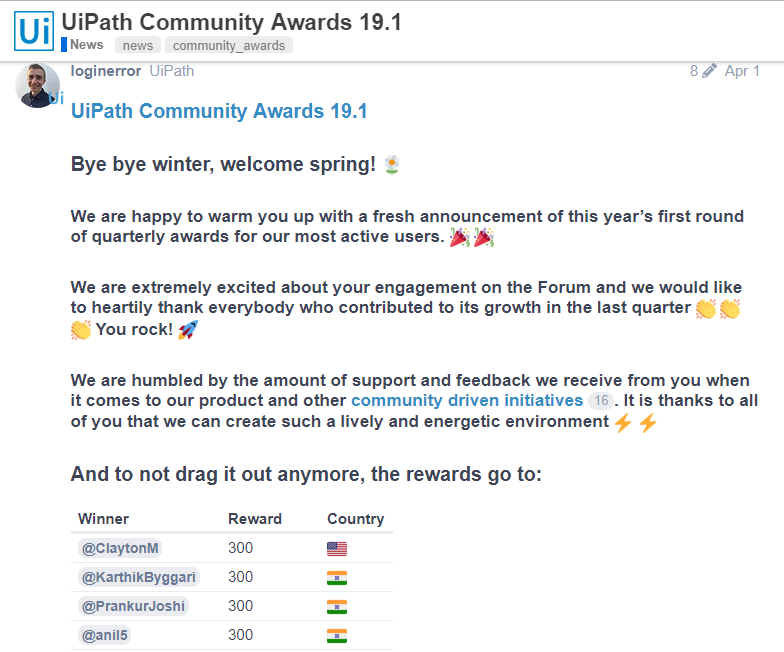 Community Awards 19.1