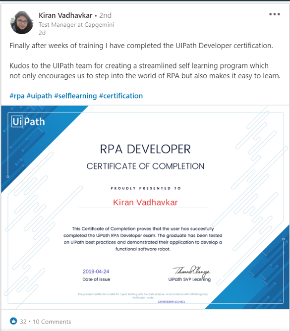 RPA Developer Certificate of Completion UiPath