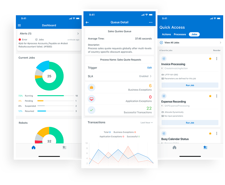 UiPath Orchestrator mobile interface