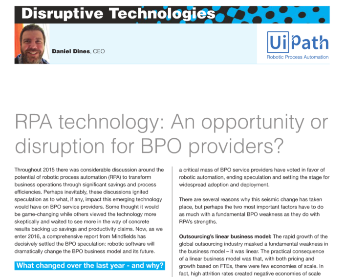 RPA Technology: an Opportunity or Disruption for BPO Providers?