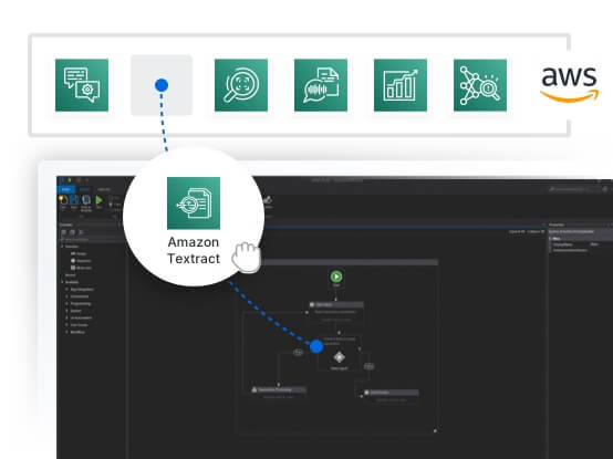 Drag and drop AWS AI Services directly into your automations through pre-built integrations